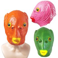 Rolig leksak cosplay kostym unisex vuxna kvinnor män karneval fest grön fisk huvudmask huvudbonad alien latex gör roligt med leksaker gåvor