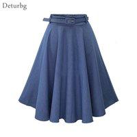 Günlük Elbiseler kadın Zarif Katı Renk Diz Boyu Etek Ücretsiz Kemer Kadın Yüksek Bel Pileli A-line Jeans Denim Etekler 2021 sp