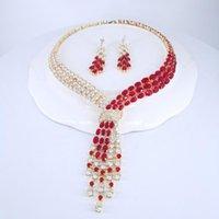 Earrings & Necklace 2021 Fashion Luxury RED CZ Zircon GOLDENnecklace Earring Set,wedding Bridel Dinner Banquet Dress Jewelry