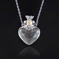 1pc Clear Coeur Bouteille Essential Huile Pendentif en verre de Murano Colliers de parfum en acier inoxydable Perfumes pour femmes