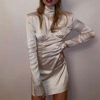Casual Dresses Turtleneck Bodycon Dress Woman Autumn Solid Mini For Women 2021 Long Sleeve Sheath Club Sexy Party Clubwear