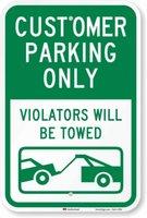 "SmartSign ""Customer Parking Only Violators Towed"" Sign | 12"" x 8"" 3M Engineer Grade Reflective Aluminum Q0723"