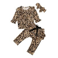 Wallpapers Fashion Kids Toddler Baby Girl Tracksuit Leopard Tops Pullover Blouse Ruffle Long Pants Headband Outfit Autumn Clothes Set 0-4Y