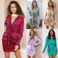 Casual Dresses Sexy V-neck Women Dress Long Sleeve Lace-up Silk With Buttons Loose Streetwear Traf Vestidos 2021 Fall Winter Clothing