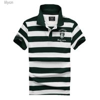 tops polos men T shirt fashion stripe lapel embroidery letter slim men's top sell short-sleeved designer pure
