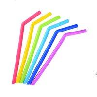 Красочные силиконовые питьевые соломинки для чашек продовольственный класс 25см прямой согнутой соломенный бар дома DHE5562