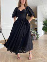 Vintage Black Lace Prom Dresses With Pockets Short Sleeves Sweetheart Neck Buttons Tea Length Formal Evening Gowns Slit Front Pageant Party Dress Special Occasion
