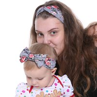 Free DHL QNSP 2 pz / Set Genitore-Child Bwans Airbands Elastics Soft Head Band Hairbands Mamma e Baby Kids Accessori per capelli Turban Puntelli fotografici
