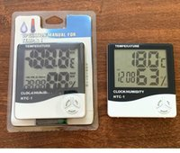 Digital LCD Temperature Hygrometer Clock Humidity Meter Thermometer with Clocks Calendar Alarm HTC-1 SN5483