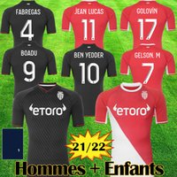 2021 2022 camisa de futebol AS Monaco Camisas de futebol BEN YEDDER JOVETIC GOLOVIN 21 22 GEUBBELS Masculino Crianças maillot de foot Flocage JORGE Camisa de futebol