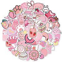 50 pcs / set cartoon rosa feminino doodle pequena etiqueta impermeável para laptop caso de bicicleta skateboard carro adesivos 1352 T2