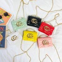 2021 Kinder Gelee Handtasche Luxurys Mädchen Metall Brief Square Tasche Kinder Pearl Kette Messenger Bags A6215