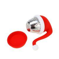 Sombrero de Navidad Forma Bolsa de té Maker Infusor Strainer Filtro de silicona Filtro Difusor Regalo Diseño creativo Resistente a la temperatura RRB8887