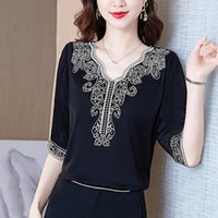 Women's Blouses & Shirts Blusas Elegantes Fashion 2021 Plus Size Women Clothing Black Short Sleeve V-neck Embroidered Silk Satin Top Female