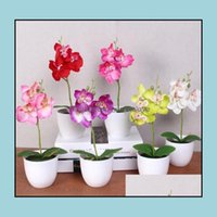 Decorative Flowers Wreaths Festive Party Supplies & Garden Phalaenopsis Potted Artificial Orc + Foam Leaf +Plastic Vase Simation Flower Home