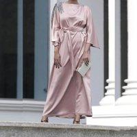 Ramazanya Eid Mübarek Müslüman Moda Saten Elbiseler Kadınlar Için Başörtüsü Uzun Elbise Abaya Dubai Türkiye Islam Vestidos Robe Longue Femme Etnik Bez