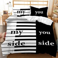 Bedding Sets Black And White Piano Set Queen King Size Valentine's Day Lover Gift Duvet Cover 3D Quilt Double Bed Home Textiles