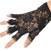 Летние тонкие кружева половина пальца женские короткие открытые пальцы солнцезащитные перчатки корейский свадебный кружевной Glovesh15o