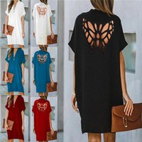 Casual Dresses Loose Dress Short Sleeve Elegant Empire V-neck Fashion Woman Hollow Out Butterfly Sexy Cloth Women Basic Vestidos AC1149