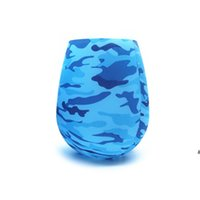 Colorful Soft Silicone Wine Glasses Foldable Cup Sports Camouflage Beer Cups Digital Print Shatterproof Anti-slip Water Bottle HWE6819