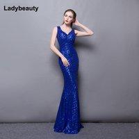 Robe de fête LadyBeauty 2021 Luxe Mermaid robe de soirée longueur longueur de plancher élégant col en V robe longue à paillette Vestidos de Festa