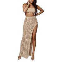 Jupe de plage tricotée Xingqing Couleur solide Crocheté Crocheté Crocheté Dépassement de genou Longueur de longueur longues-ups Femmes Beachwear Maillot de bain pour femmes