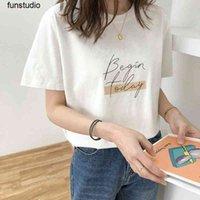 Homemade Begin Letter Box tops T-shirt Short Sleeve Women Korean Casual Top