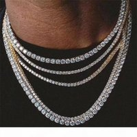 Mens Hiphop Iced Out Chains Jewelry Diamond One Row Tennis Chain Hip Hop Jewelry Necklace 3mm 4mm Silver Rose Gold Crystal Chain Necklaces