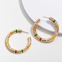 Fashion Jewelry Vintage Simple Hoop Earrings Colorful C Shape Stud Earring