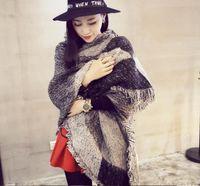 Scarves Tartan Plaid Imitated Cashmere Scarf Women Geometric Acrylic Shawl Wrap Female Winter Thick Warm Blanket Brand Bevel Angle