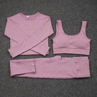 Kadınlar Dikişsiz Yoga Set Setleri 3 adet Kadın Spor Gym Takım Elbise Koşu Giysi Kadın Fitness Spor Takım Elbise Uzun Kollu Giyim