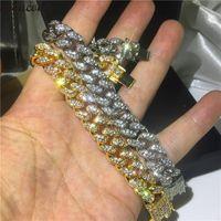 Link, Chain Top Quality Micro Pave Crystal Cz Cuban Link Bracelets Boy Men Hip Hop Bling Iced Out Wide Big Miami Bracelet