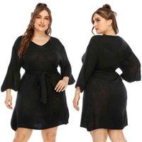 Kadın Artı Boyutu Büyük Sonbahar Ve Kış 7/4 Sleeve TRumpet Woolen ile Bel Kravat 453
