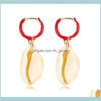 Dicbally Chandelier Jewelry Estate Dichiarazione Conch Big Pendiientes Gold Color Cowries Sea Shell Orecchini per le donne Consegna a goccia 2021 4NZXN