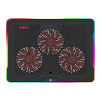 AJAZAZZ AHC160 Pads de refroidissement pour ordinateur portable de jeu professionnel) Effet lumineux RVB MUTE ANGLE RÉGLABLE USB FAN DUAL PORT USB (Noir)