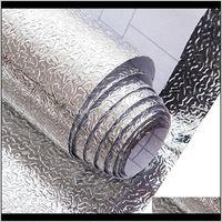 Décor Home & Gardenkitchen Oil Proof Waterproof Sticker Aluminum Foil Kitchen Stove Cabinet Self Adhesive Wallpapers Diy Wall Stickers Drop D