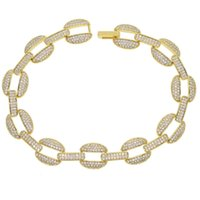 Wholesale- cuban link chain lab diamond cz mens bracelet gold plated iced out bling Cool Hip hop Rock boy men jewelry chain