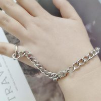 Men's Bracelets Silver Color Iron Metal Material Round Penant Long Chain Tassel Men Women Wholesale Jewelry Gift Link,