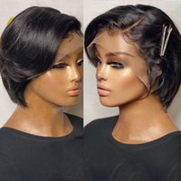 Lace Wigs Straight Pixie Cut Wig T Part Front Human Hair Preplucked For Black Women Brazilian Bob Transparent
