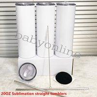 20oz DIY SUBLIMATION TROUBLE DROITE EN ACIER INOXYDABLE Couvercle en acier inoxydable Slim Bouteilles d'eau Doubel Mur Thermos tasse de café Tasse à thé