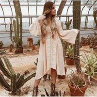 Teelynn Kollu Elbiseler Kadın Tunik Vintage Çiçek Işlemeli Pamuk Uzun Elbise Vestidos Casual Hippi Boho Asimetrik Robe 210323