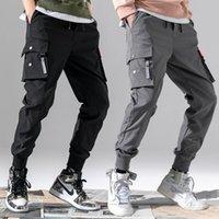 Мужские брюки хлопчатобумажные тонкие грузы мужские спортивные штаны повседневные брюки, связанные с лодыжкой свободный 3d кармана эластичная талия бегая пробежка Safari стиль