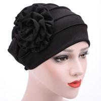Beanie Skull Caps Women Stylish Leisure Elegant Lovely Solid Cotton Polyerter Big Flower Pattern Turban Hat Chemo Hair Loss Cap Bonnet