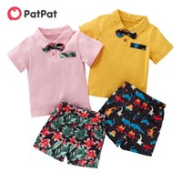 PatPat Arrival Summer 2-piece Baby Toddler Bow Bright Vacation Top and Shorts Set for Kids Boy Clothing Sets 210521