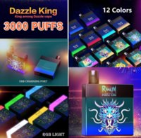 Original Randm Dazzle King 3000 Puffs Dispositivo Descartável Kit 1100mAh Bateria Personalizado 8ml Vagens Vape Vape Pen Colorido LGB LED LED 12 Cores Bar Mais 100% Autêntico