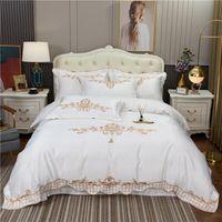 Set di biancheria da letto Luxury White Satin Silk Lavato in cotone di cotone Gold Set da ricamo Set Soft Seta Cover Duvet Biancheria da letto Lenzuola Lenzuola Falena