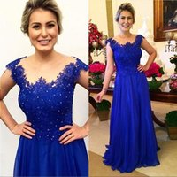 2020 Royal Blue Mother Of The Bride Dresses Chiffon Lace Appliques Beaded Plus Size Floor Length Wedding Groom Dress Evening Party Gown Pagp