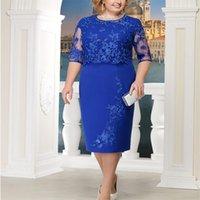 Z20 Fashion Lace Elegant Women Dresses Mother Party Knee Length Plus Size O Neck Short Sleeve Lady Clothing Vestidos