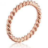Cluster Rings High Quality Fashion Small Rose Gold Color Twisted Stainless Steel For Women Wedding Party Ring Jewelry KK017