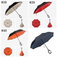 Doppelschicht umgekehrt Regenschirm winddicht umgekehrte C-Haken Regenschirme Selbststandregen revers Auto für Frauen und Mann GWA4675
